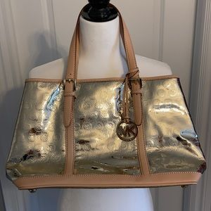 Michael Kors PVC Metallic Gold and Leather Tote